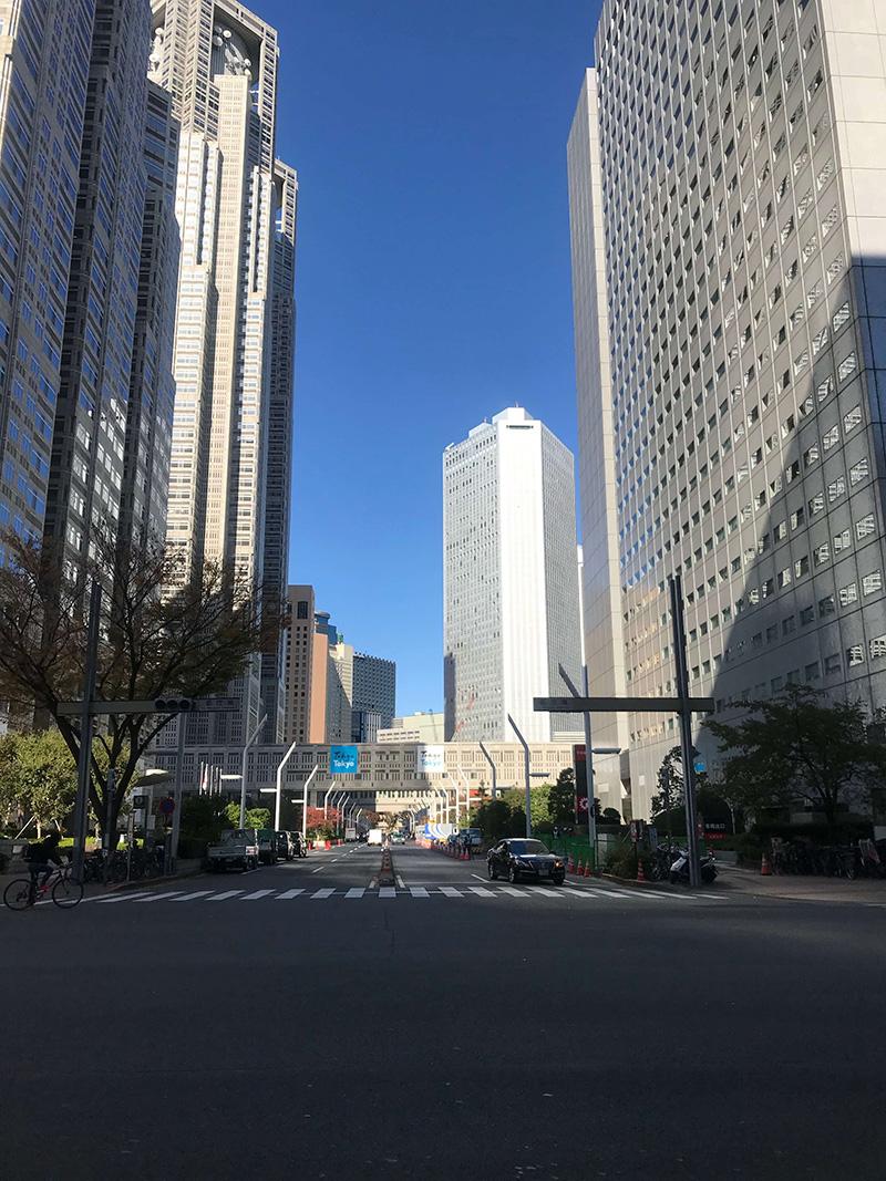 右手には都庁が聳え立っています。